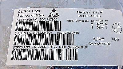 1000 Pcs  OSRAM SFH 206K Photodiode 5mm 850nm Mounting THT Multi Topled 2mA