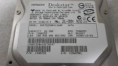 """-QTY:3 3 Hitachi Deskstar HDS722580VLSA80 82.3GB 3.5/"""" SATA Wiped and Tested"""