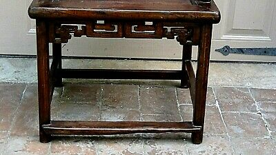 ANTIQUE 19c CHINESE ELM WOOD SQUARE ARMS & BACK  SINGLE SPLAT BACK ARMCHAIR 4