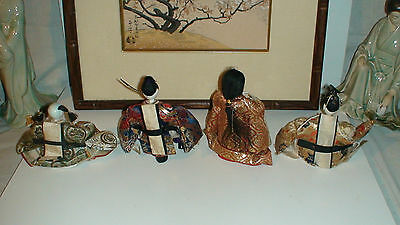 4 + 3 + 1 Antique Japanese Hina Imperial Court Empres Dolls With Gofun Faces 8