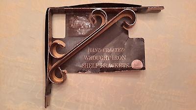 Pair Vintage Wrought Iron Shelf Brackets Circa 1950's Alligator Imprint On Brass 2