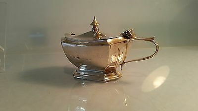 Edwardian Silver mustard pot with hinged lid 3
