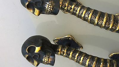 "2 small SKULL head handle DOOR PULL spine AGED  BRASS old style 8"" B 4"