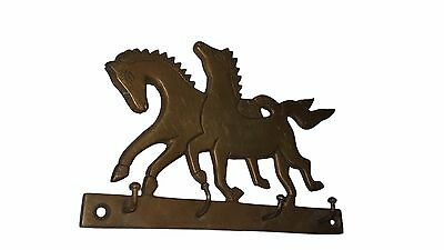 An Old & Lovely Brass made Unique RUNNING HORSES Coat Hook KEY HANGER from India 4