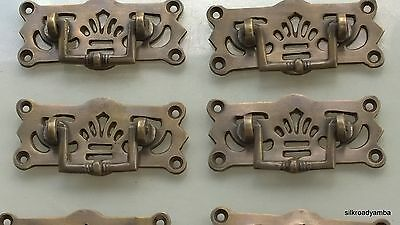 6 small heavy handles aged pull solid brass heavy old vintage style drawer 68 mm 3