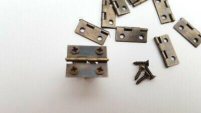 Small Hinges With Screws Bronze Jewellery Box Dolls House 2, 8, 14, 22 or 98 8