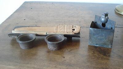 3 boites anciennes bois Le Galvanic Solere + encrier fonte+ pots loft usine déco 12