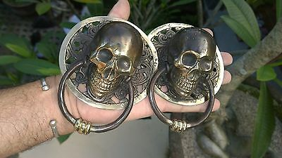 2 round large SKULL head ring pull Handle BRASS  day of the dead cabinet door B 3