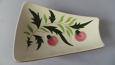 """STANGL THISTLE 11"""" Trapezoid Relish Tray Dish Vtg Mid-Century Pink Green PRETTY! 2"""