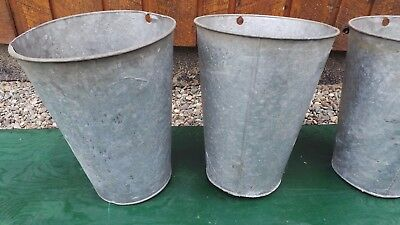 3 Vintage OLD GALVANIZED Maple Syrup Sap Buckets NICE STYLE