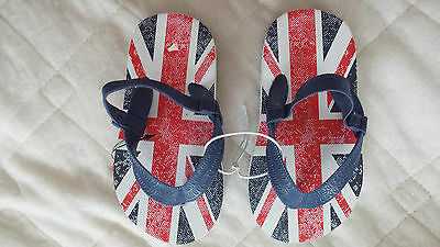 Bnwt Boys-Girls Size 10 Union Jack Print Flip Flops With Elasticated Back Strap 2