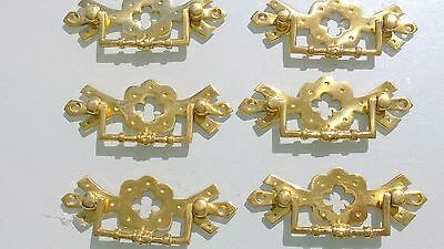 "6 heavy handles polished pull solid brass heavy old vintage style drawer 4"" 3"