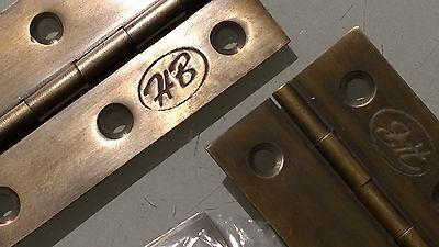 "10 small hinges vintage aged style solid Brass DOOR light restoration 3"" screws 4"