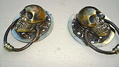 """2 SKULL head ring pull Handle solid BRASS 3.1/2"""" day of the dead cabinet door B 5"""
