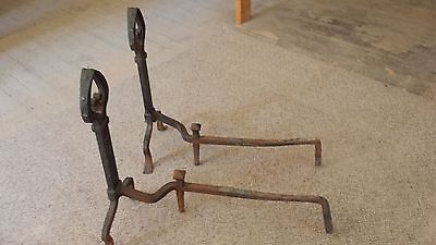 Antique spade shaped wrought iron andirons - generous size, patina 3