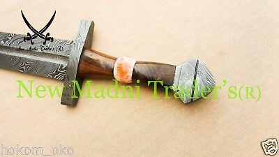 "D 35/"" DAMASCUS FIRE PATTERN POMMEL DOUBLE SHADED WRAP WIRE HANDLE VIKING SWORD"