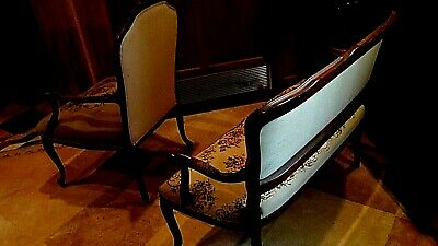 Set Of 2  Antique 1920 Upholstered Armchair And Settee Depicts Of Court Scene 8
