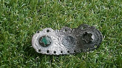 Roman Bronze Silverered beautiful ornate mount with green stone museum quality 2
