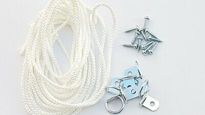 Picture Frame D Ring + Screws With Cord Nickel Canvas Hook Hanger 10 or 20 sets 6
