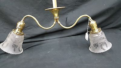 Antique Brass Ceiling Light Fixture Chandelier With Two Etched Glass Shades 12