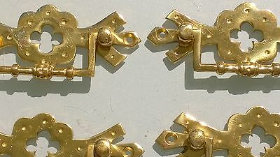 "6 heavy handles polished pull solid brass heavy old vintage style drawer 4"" 2"