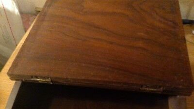Antique Hardwood Slope Writing Desk With Very Rare Brass Inlay 9