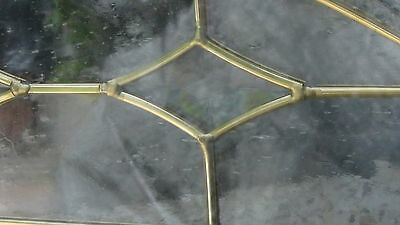 """Beveled  Leaded Glass  Brass Gold Or Silver Patina  Arch 63""""l Window Transom"""