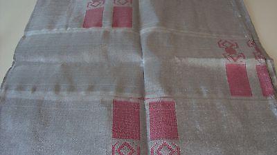 Nigerian Aso Oke Gele (Headtie) Silver with Pink Patterns 1 Piece 2