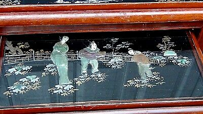 Set Of 4 Antique Chinese Painting & Stone,jade Imlayed Nesting Tables,glass Top 6
