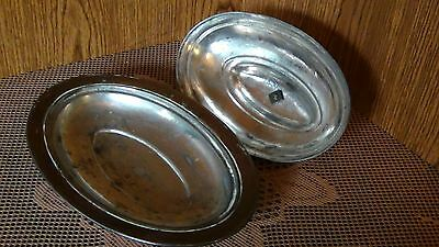ANTIQUE 18c ISLAMIC COPPER SERVING OVAL DISH WITH LID, MARKED. 4