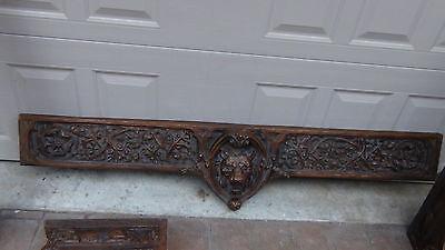 Set Of 6 Vintage Carved Hard Styrofoam Lions,demon,knights Heads Pediments 6