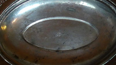 ANTIQUE 18c ISLAMIC COPPER SERVING OVAL DISH WITH LID, MARKED. 6