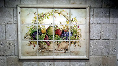 Tumbled Marble Mural Fruits Basket Backsplash Tile #799