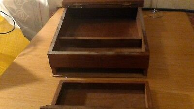 Antique Hardwood Slope Writing Desk With Very Rare Brass Inlay 11