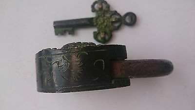 Vintage Solid Bronze Engraved Padlock W/Key № 35 10