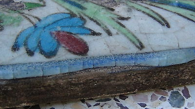 "ANTIQUE 18c-19c ARABIC ISLAMIC POTTERY GLAZED ""FLOWERS"" WALL PLAQUE 7"