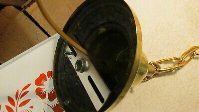 Antique Brass Pendant Light Fixture & Art Nouveau Globe 3