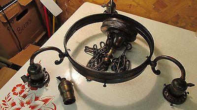 Antique Coppertone Chandelier & Wheel Cut Shades