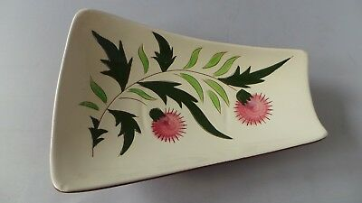 """STANGL THISTLE 11"""" Trapezoid Relish Tray Dish Vtg Mid-Century Pink Green PRETTY! 6"""