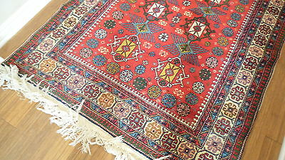 Antique Authentic 100% Wool Hand Made Knotted Vintage Kazak Rug 2