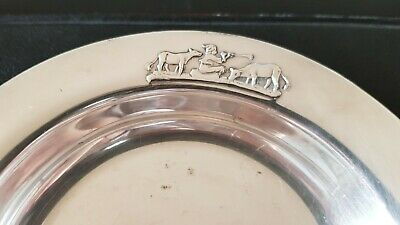 Astri Holthe baby child deep plate boy & cows silver plate 40g Norway vintage 5