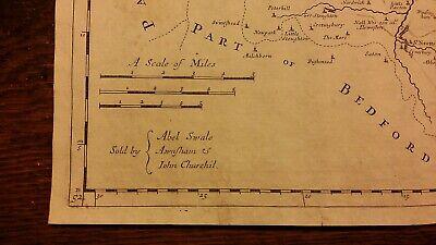 1695 / 1722 Antique Map Huntingtonshire - Robert Morden - Camden's Britannia 3