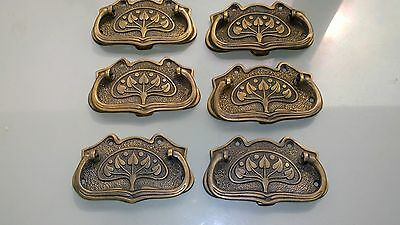 6 large DECO cabinet handles solid brass furniture antiques age old style 11cmB 7