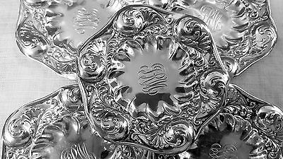 5 Gorham repousse butter pats foliate design 1892 in sterling silver 3