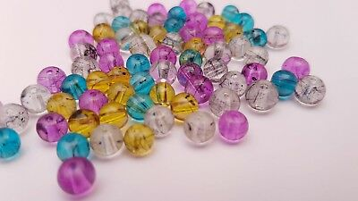Translucent Oily Drizzle Drawbench Glass Beads - Various Colours (4mm 6mm 8mm) 6