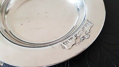 Astri Holthe baby child deep plate boy & cows silver plate 40g Norway vintage 3