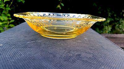"""FOSTORIA GLASS YELLOW TOPAZ NEW GARLAND CEREAL BOWL 5 3//4/"""" X 5 3//4/"""" X 1½/"""""""