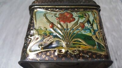 Antique ca. 1910 Russian Popov Brothers Tea Caddy Box hand painted TIN VINTAGE! 8