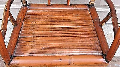 ANTIQUE 19c CHINESE BAMBOO RATTAN CHILD ARM CHAIR 7