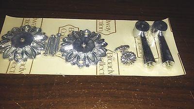 Vintage 1950s-1960s Unused Drawer Pulls Handles - Flowers Floral Silver 2
